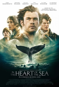 Movie poster for In the Heart of the Sea with Chris Hemsworth over a sperm whale's tail