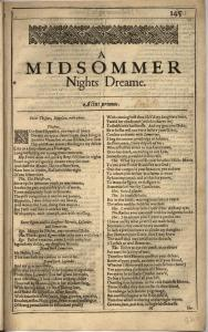 Old-fashioned looking page from Shakespeare's play